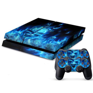 Waterproof PS4 Skin PS4 Sticker for Sony PlayStation 4 and 2 Controller Skins PS4 Stickers Blue Color Brand New