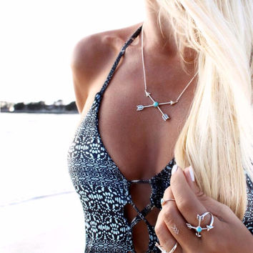 Boho Vintage Arrow of Love Cross Lucky Arrows Pendant Chain Necklace Women Choker Necklace Gift Free shipping