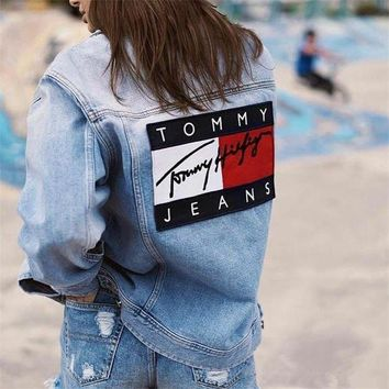 DCCK6HW Tommy Jeans' Women Casual Personality Fashion Letter Pattern Patch Zip Long Sleeve Loose Denim Cardigan Coat