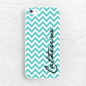 Mint Chervon Custom Phone Case for iPhone, Sony z1 z2 z3, LG g3 g2 Nexus 5, Moto X Moto G, Tiffany blue monogram case with personalized name