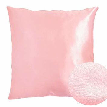 "Orchid Pink Light 18"" x 18"" Decorative Textured Satin Cushion Cover Throw Square Pillowcase for Chair Sofa Living Room Accent Pillow"