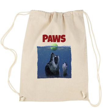 Paws Poster Dog With Tennis Ball Drawstring Backpack