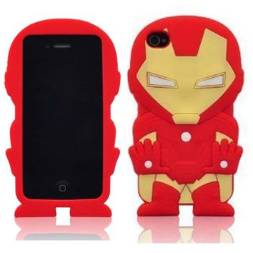 FLG 3D Stylish Iron Man Soft Silicone Case Cover Compatible For Apple Iphone 4/4G/4S (Red)