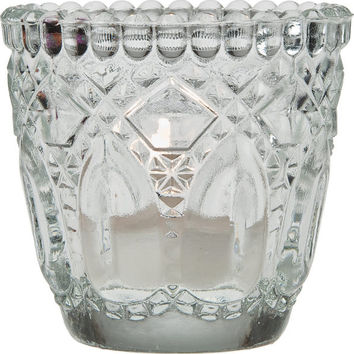 Vintage Glass Candle Holder (faceted design) - Clear