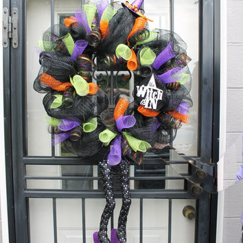 Halloween/ Witch Wreath with Witch Hat and Boots HUGE Halloween Wreath Full of Color
