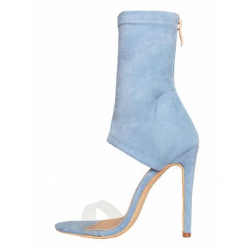 Evelyn Blue Suede Clear Ankle Stiletto Heels : Simmi Shoes