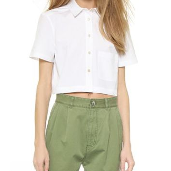 Marc by Marc Jacobs Stretch Poplin Cropped Blouse