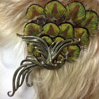 Baby peacock feather hair clip with bronze pheonix bird