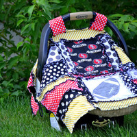 Football CAR SEAT COVER, Rag Quilt Style, Black, Red San Francisco 49ers,  Ready to Ship in 1 Business Day