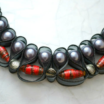 Vampire Diaries paper bead necklace. Black ribbon jewelry. Ships free.