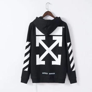 PEAPD Off-White Fashion Print Hoodie Top Sweater