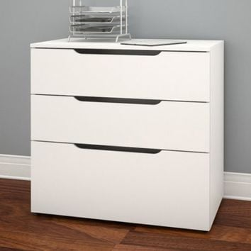 Nexera Arobas 3 Drawer File Cabinet - White - File Cabinets at Hayneedle