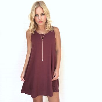 Shift Gears Dress In Burgundy
