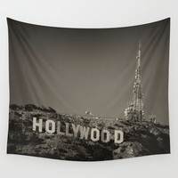 Vintage Hollywood sign Wall Tapestry by Claude Gariepy