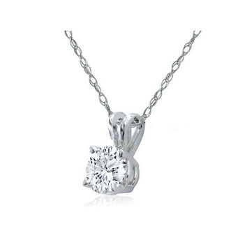 Ben Garelick 0.33 Carat Diamond Solitaire Pendant in 14K White Gold on 18 Inch Chain