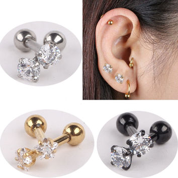 1pair Stainless Steel Tragus Helix Ear Stud Earring Ball Barbell Ear Piercing Black Silver Gold Barbell Jewelry For Men Women