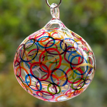 Glass Painting, Hand painted Decorative Hand Blown Glass Ball, Hanging Glass Ball, Glass Painting, Sun Catcher