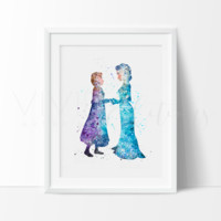 Princess Elsa & Anna Watercolor Art Print