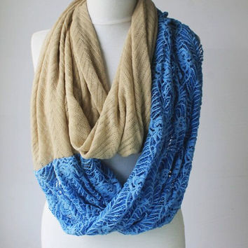 lace blue scarf,infinity scarf, scarf, scarves, long scarf, loop scarf, gift