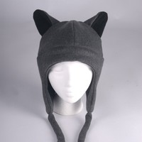 Fleece Wolf Hat - Gray Aviator Style by Ningen Headwear on Etsy