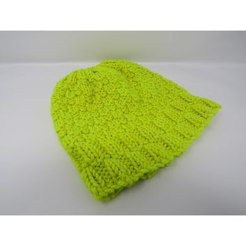 Handcrafted Knitted Hat Beanie Neon Yellow Merino Wool Cashmere Female Adult -- New No Tags