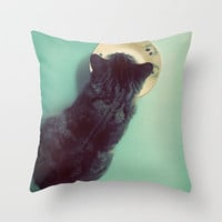 Cat and Saucer Throw Pillow by Skye Zambrana | Society6
