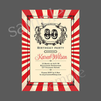 Vintage Birthday Invitation for any age,  50 60 70 80 90 birthday invitation Retro Card Design party invite - card 65
