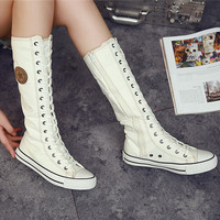New Fashion Black Women's Canvas Boots Lace Zip Knee High Boots Women Motorcycle Boots Flats Casual Tall Punk Shoes C114