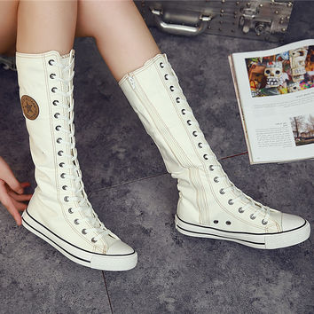 Canvas Lace Zip Motorcycle Knee High Boot