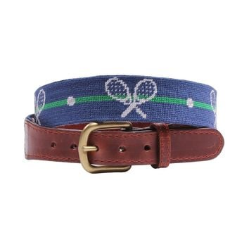Crossed Racquets Needlepoint Belt in Classic Navy by Smathers & Branson