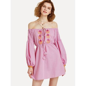 Pink Off the Shoulder Long Sleeve Knot Front Shift Dress