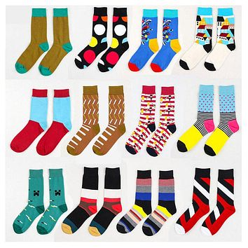 2016 Summer Fashion Mens Cotton Socks Colorful Striped Jacquard Art Socks Hit Color Dot Long Wedding Socks Men's Dress Sock
