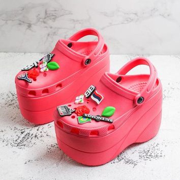 Balenciaga Red Foam Platform Sandals Crocs Charms Embellished Resin Wedge Clogs With Spikes - Best Deal Online