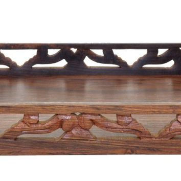 Benzara Handmade Mango wood Ottoman Tray/Serving Tray With Cutwork Handles, Brown