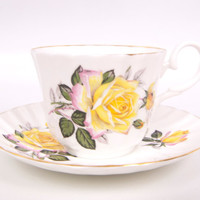Vintage Royal Stuart Teacup Saucer Yellow Roses Made in England Fine Bone China