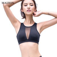 MAIJION Sexy Breathable Mesh Sports Bra for Women Fitness Running Yoga Crop Tops Shakeproof Padded Bras Workout Gym Sports Vest