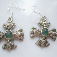 Vintage Jerusalem Cross Silver and Green Stone Earrings
