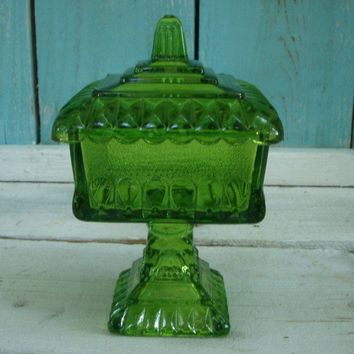 Retro Green Glass Square Candy or Nut Dish or by honeystreasures