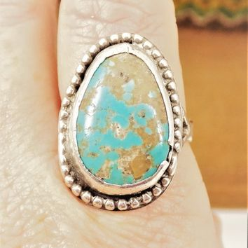 Royston Turquoise Silver Ring, Size 12 1/5, .800 Silver, Vintage Men's Jewelry