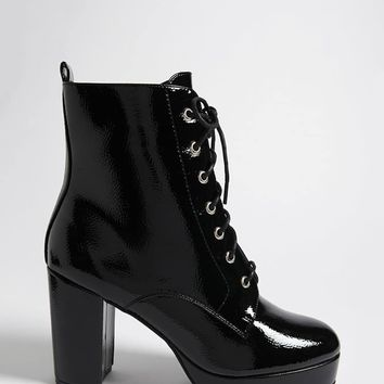 Textured Faux Patent Leather Combat Boots