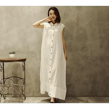 New summer sleeveless do older cotton linen vintage dress 2018 summer loose can do cardigan dresses long clothes plus size 87009