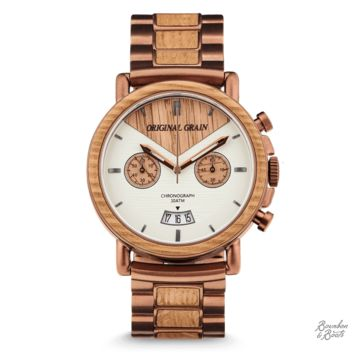Reclaimed Whiskey Barrel Chronograph Luxury Wrist Watch