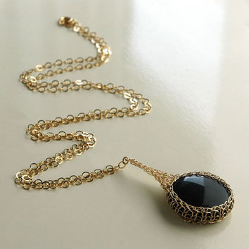 Onyx Potion charm necklace crocheted with 14k gold filled by Yoola