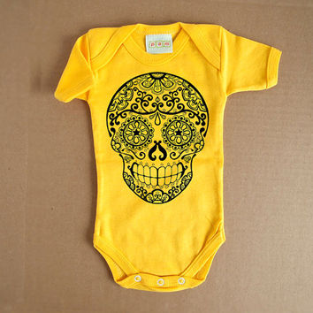 Yellow Sugar Skull Baby Romper. 3m 6 months. Day of the Dead Bodysuit Creeper. Trendy Girl Boy Rockabilly Toddler Skull Tattoo onezee