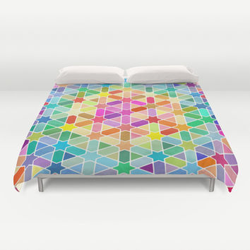 Magical Thinking - Rainbow Honeycomb with Stars Duvet Cover by micklyn