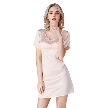2017 New 100% Silk Satin Women Nightgown Short Sleeves Nightdress Solid Color Ladies Sleepwear sp0042
