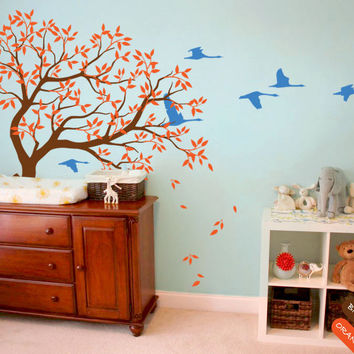 Nursery Kids Bedroom Cute Decor Vinyl Wall Sticker Large Tree With Falling Trees And Flying Birds Art Decorative Wall Mural T-8