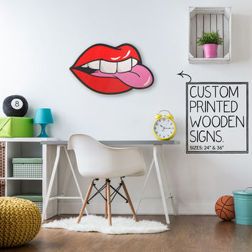 Side Tongue Red Lips Teeth Custom Printed Wood Sign Unique Trendy Game Room