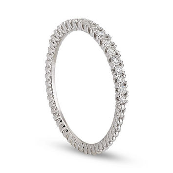 Diamond Eternity Band in 14k White Gold Bezel Diamond Wedding Anniversary Ring