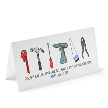 Funny Father's day card, tools, blank inside, happy father's day greetings card, cute cards for dad, funny cards, cool dad card, toolshed